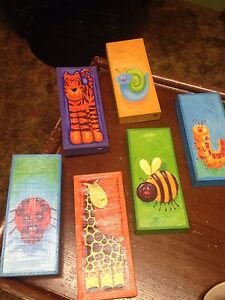 6 colourful animal/insect wooden pictures