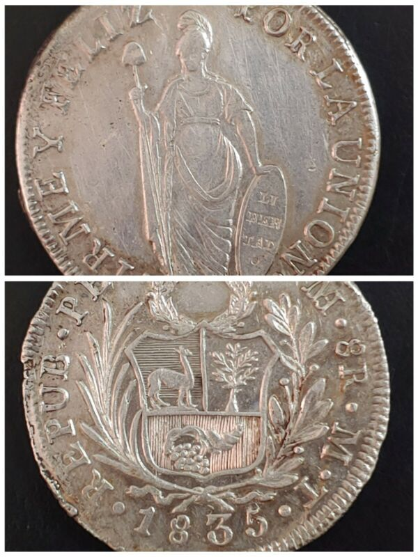 1835 MT Republic of Lima, Peru. 8 Reales, KM#142.3