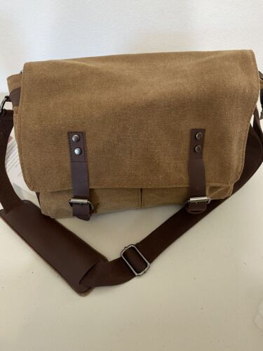 gregg norman messanger bag canvas and leather . New with tags