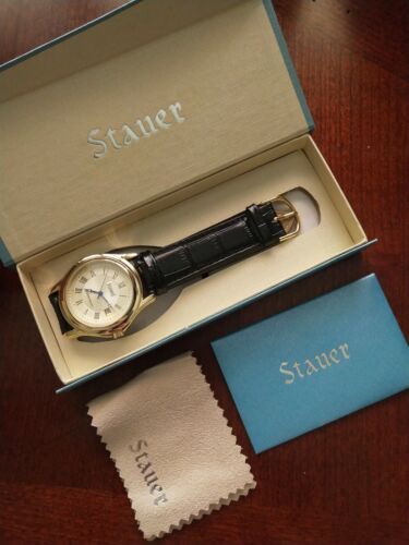 New Men's Stauer Watch Historical Reproduction In Box Black