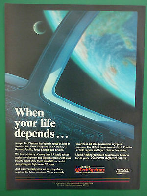 6/1985 PUB AEROJET GENERAL TECHSYSTEMS LIQUID ROCKET ENGINE PROPULSION SPACE AD ()