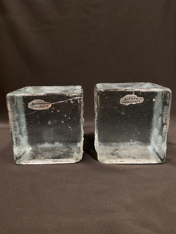 "Vintage Pair Blenko Joel Myers Cube Square Block Sand Dollar Glass Bookends 4"""
