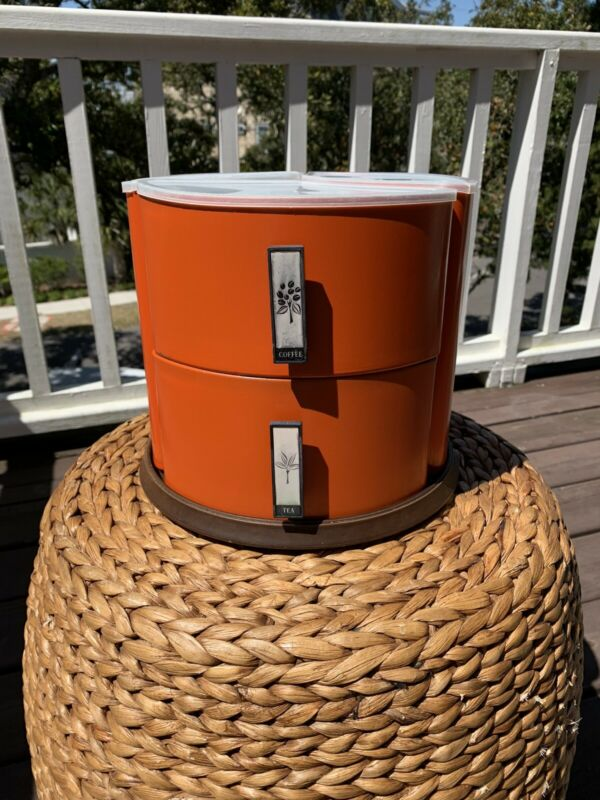 Vintage Lincoln Beautyware Spinning Divider Lazy Susan Canister Container Orange