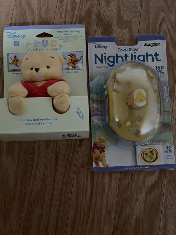 Disney Winnie the Pooh Crazy Glow Nightlight & Magnetic Rattling Friend NIP