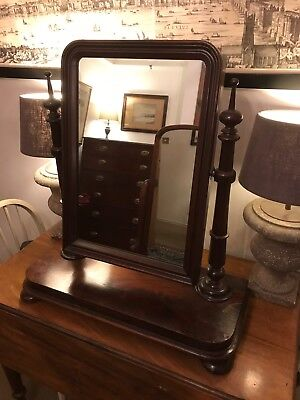 Antique Victorian Mahogany Wood Swing Mirror Toilet Dressing Table