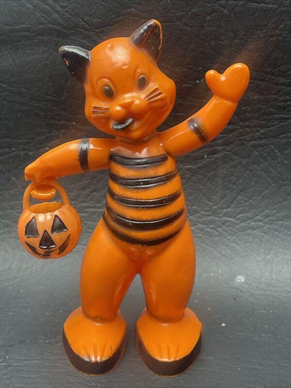 Vintage Halloween Rosbro Plastic Cat JOL Candy Container Jack O Lantern