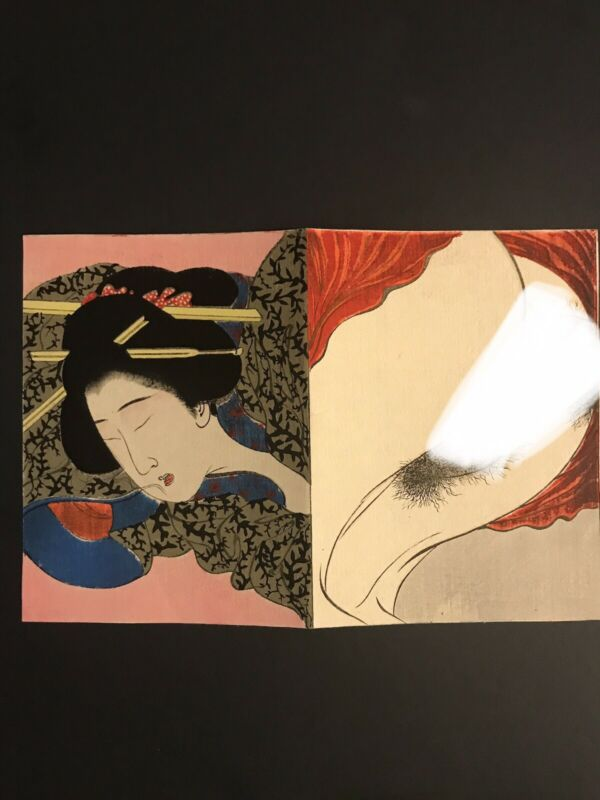 Original Tomioka Eisen Japanese Woodblock Shunga Print - C