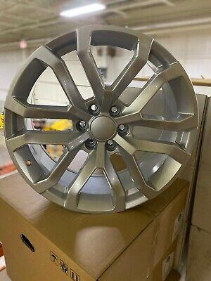 4 New 2019 Chevy Silverado Wheels OE Replica 22x9 Silver Machined Chevrolet GMC