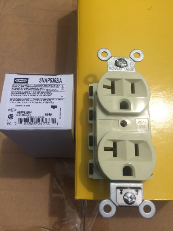 1 Lot Of 10 Hubbell SNAP5362IA 20A 125V Ivory Snap Connect Duplex Receptacle