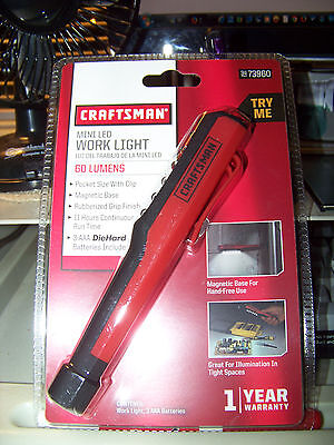 NEW CRAFTSMAN MINI POCKET LED WORK LIGHT RUBBERIZED MAGNETIC BASE 60 LUMENS RED ()