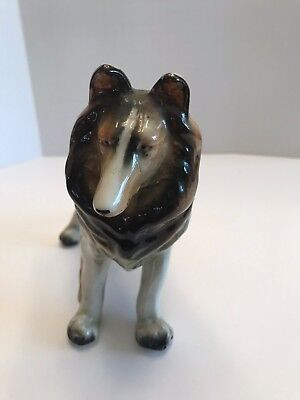 Rough Sable Collie Dog Porcelain Lassie ~ 9 in long x 6 in tall made in Japan for sale  Shipping to Canada