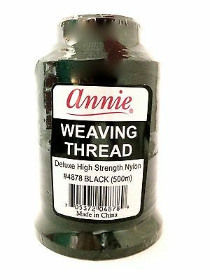 ANNIE WEAVING THREAD Deluxe High Strength Nylon Black Thread 500m #4878