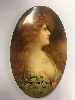 Vintage Coney Island Brighton Beach Brooklyn NY Old Celluloid Advertising Mirror