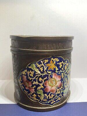 Antique Oriental Cloissone Enamel Flower Caddy Jar / Box