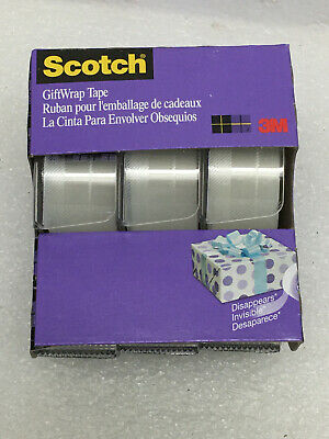 Scotch Gift Wrap Tape 34 X 300 8.33 Yds 3 Rolls Per Pack 051131707092