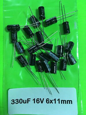 25102050 Piece 330uf 16v 105c Radial Electrolytic Capacitor 6x11mm