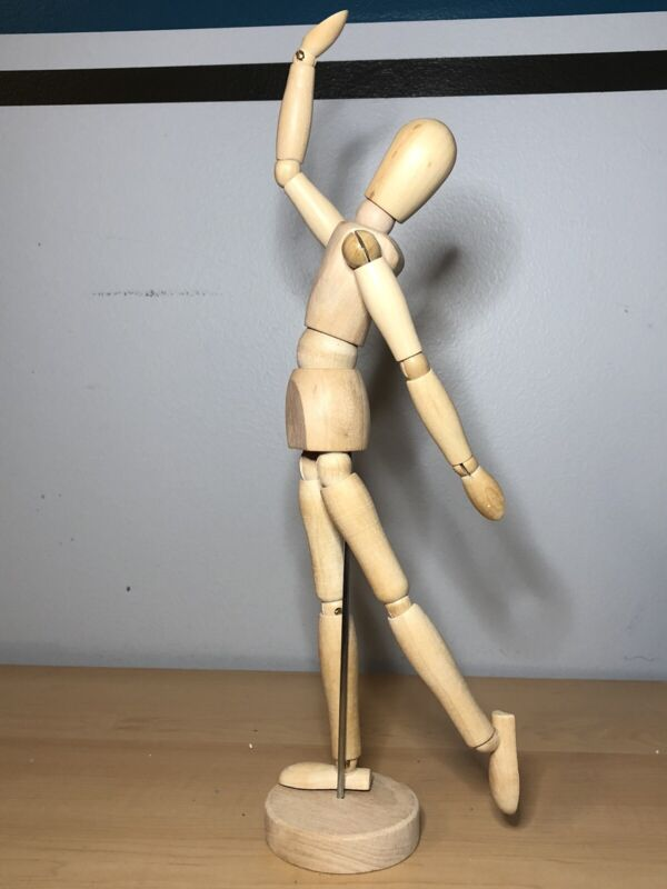 """Wood Artist Drawing Mannequin or Manikin 13"""" on base with flexible body ART261"""