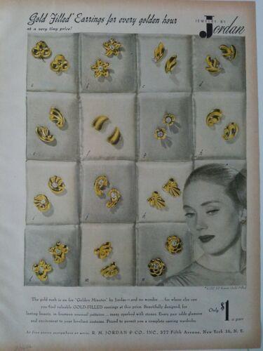 1946 r.m. jordan doré remplie boucles d'oreilles vintage bijoux annonce