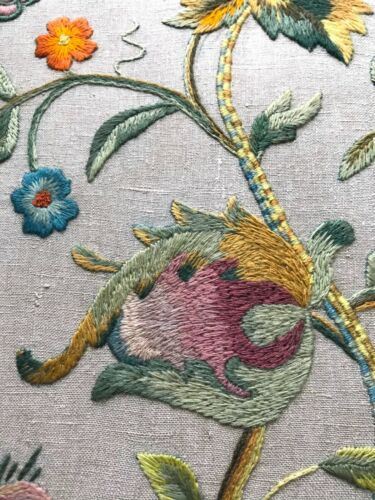 Crewel Embroidery Panel Jacobean/Arts & Crafts wool work tapestry ~Tree of Life