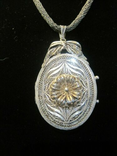 Antique 800 SILVER Filigree Mourning Locket Glass Pendant