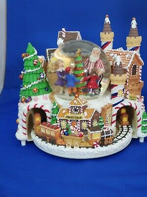 Santa Claus Christmas Village Musical Water Globe With Candyland Express Train