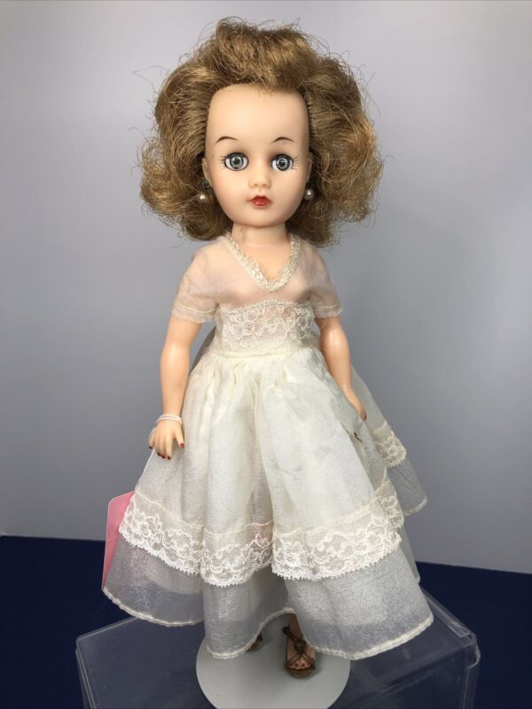 "10"" Vintage Miss Nancy Ann Early Unmarked Cute Blonde White Dress #S"