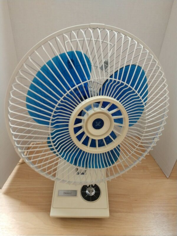 """Vintage Sears Blue White Oscillating Fan 12"""" 3 Speed Tested & Works NO. 35980090"""