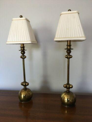 HART ASSOCIATES MID CENTURY BRASS BUFFET LAMP SET