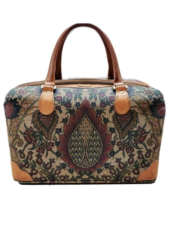 Vintage Hartmann Luggage Floral Flame Tapestry Carry On Weekender 14x9x9 Duffle