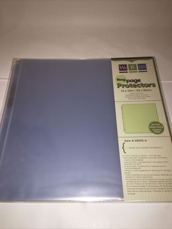 10 Pk, 12x12 inch 3-Ring Album Page Sheet Protectors We R Memory Keepers 50070-4