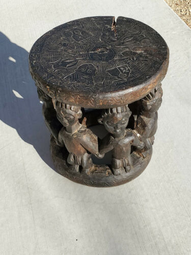 Vintage Carved Wood Stool from Cameroon Africa