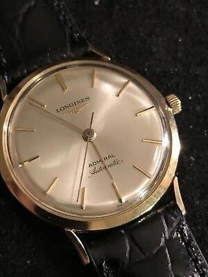 Vintage Longines Admiral 1200 Solid 14K Automatic Mens Watch