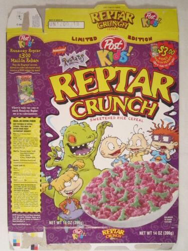 Empty POST Cereal Box Kids! REPTAR CRUNCH 1999 14oz RUGRATS [G7D6aa]