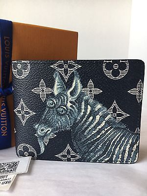 Auth New Louis Vuitton Chapman brothers Blue Ink Watercolor Multiple Wallet