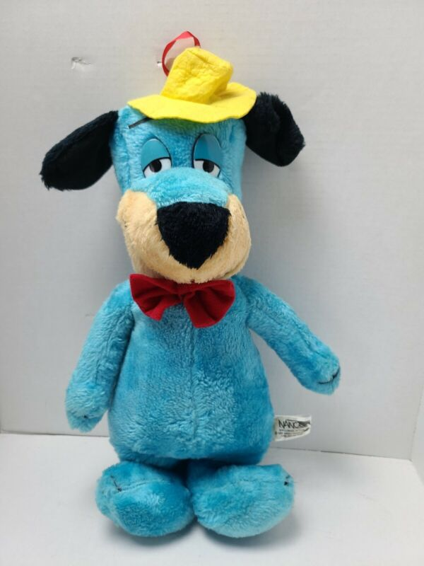 Vintage 1989 NancoHuckleberry Hound Blue Dog in Hat/Bowtie Stuffed Animal Plush