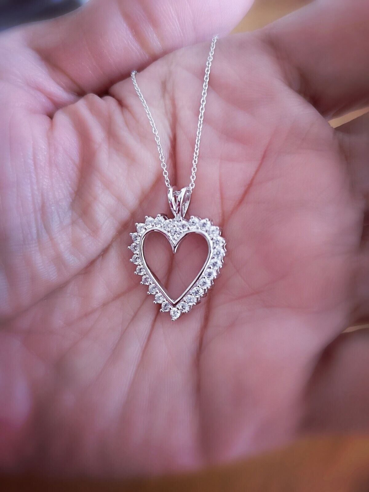 1.25 Ct Diamond Heart Pendant Womens Necklace 14K White Gold over with Chain 5