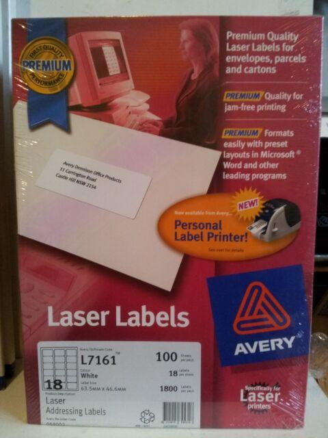 Avery Premium White Laser Address Label 18 per Sh 100sheets 63.5 x 46.6mm  L7161