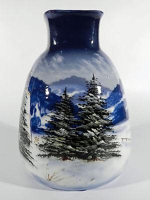 SCHRAMBERG Post-Jugendstil Keramik Wintervase ° Rembrandt blau ° JB Signet