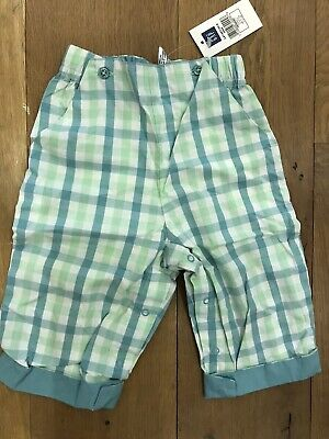 BABY GAP 100% Cotton Trousers Green Checked Age 6-12 Months BNWT