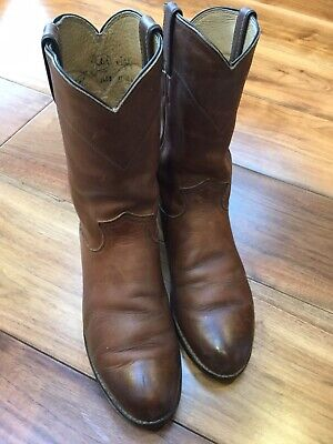 Justin Vintage Leather Brown Ladies Boots USA Size 5B-UK Size 4