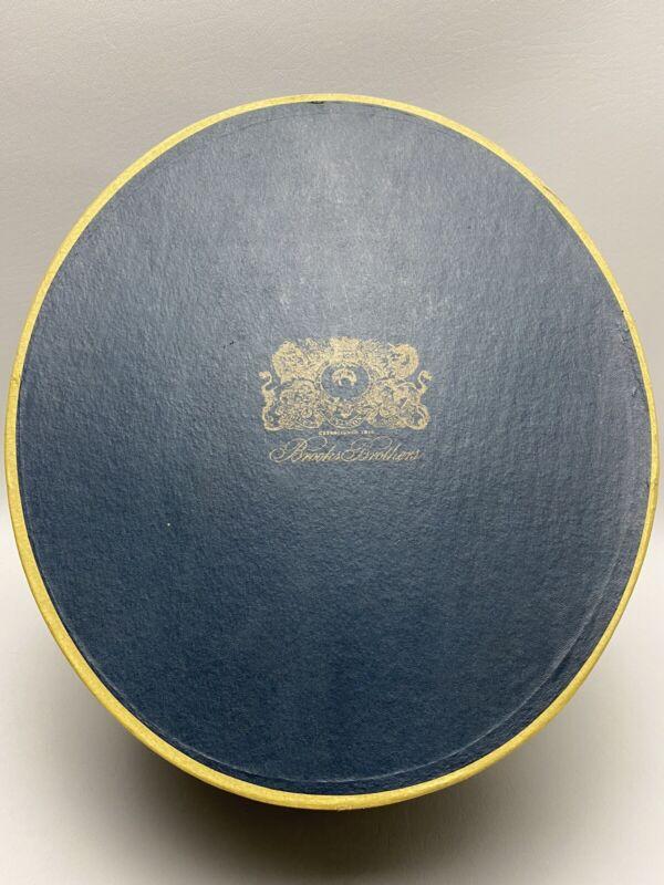 Vintage Brooks Brothers Blue W/ Gold Emblem Original Hat Box