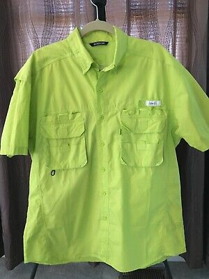 b96a58af99d74d Black Tip Big Catch Fishing Shirt Mens Size Large Green Vented Cotton
