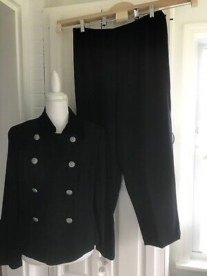 NWT Plaza South Navy Blue Double Breasted Pant Suit Sz:14P
