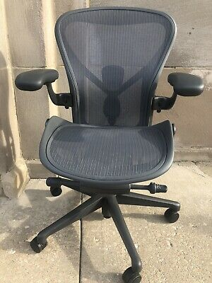 Herman Miller Aeron Office Chair Fully Loaded Model B Medium Size Carbon Color