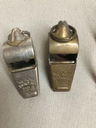 2 ACME THUNDER WHISTLES - ENGLAND - 1 BRASS & 1 STAINLESS  (LOT #2