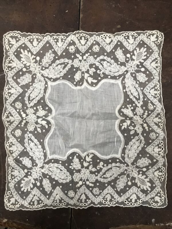 Net Lace Vintage Wedding Hanky Embroidered Embroidery White