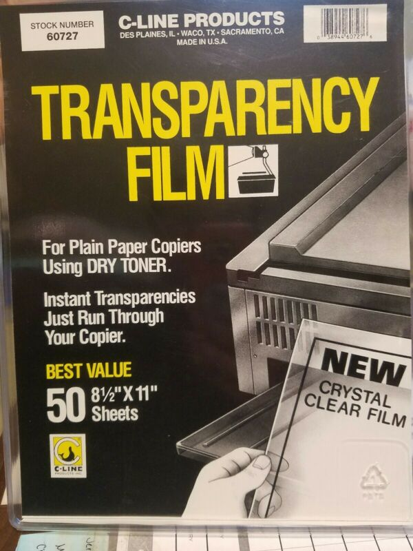 C-LINE Transparency Film 60727 Open Box  46 sheets left
