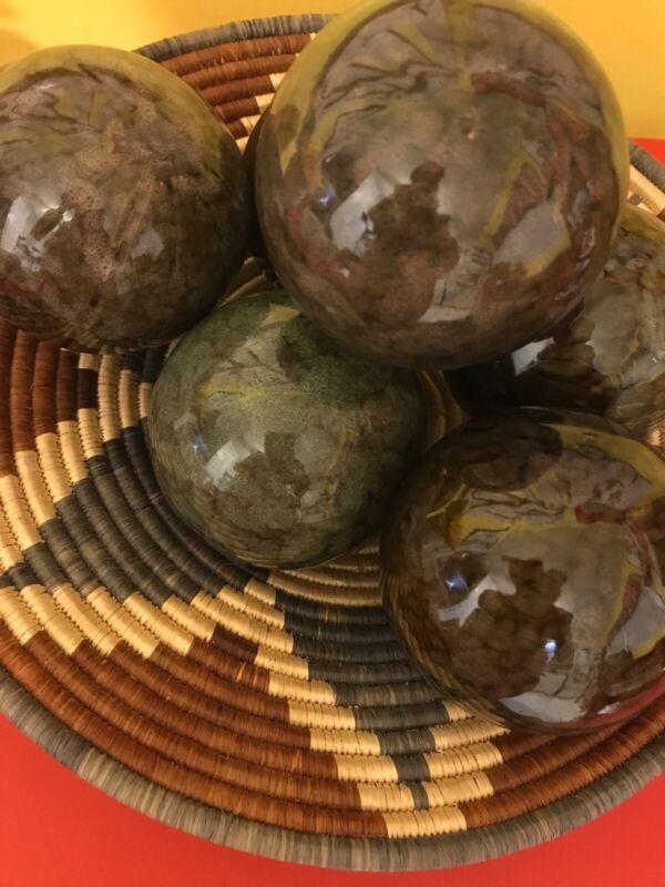 "Vtg Heavy Pottery Carpet Balls 3.5"" Brown Green Varigated Hues (6)"