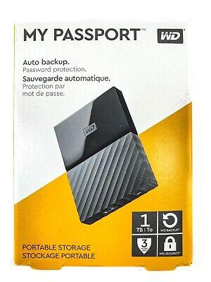 WD Western Digital My Passport 1TB USB Portable Backup Hard Drive Black Case
