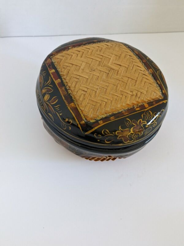 Antique Chinese Enameled Hand Painted Sewing Basket